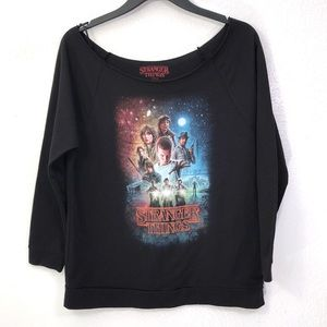 Netflix Stranger Things Cut off Graphic Sweater